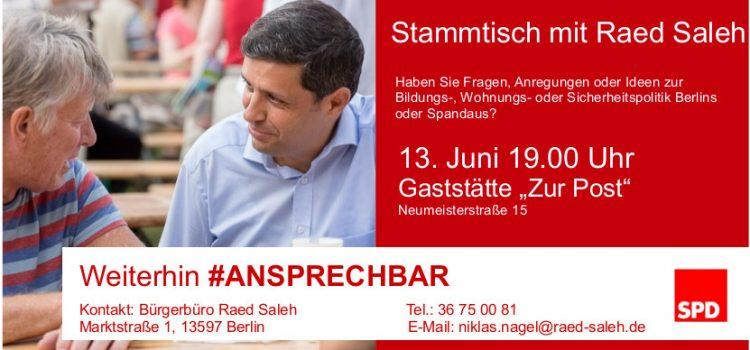 Raed Saleh lädt ein zum Stammtisch in die Neustadt