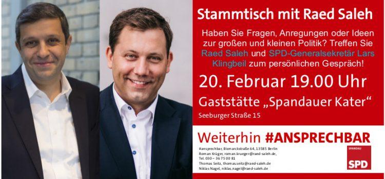 Raed Saleh lädt ein zum Kiezgespräch mit SPD-Generalsekretär Lars Klingbeil