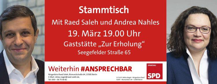 """Andrea Nahles zu Gast bei Raed Salehs Kieztour in der Gaststätte """"Zur Erholung"""""""