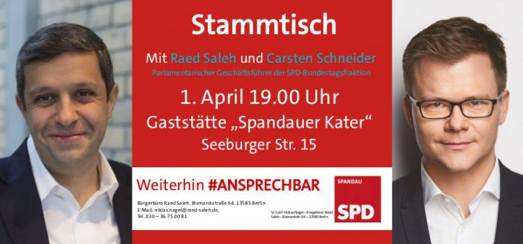 Carsten Schneider zu Gast an Raed Salehs Kiezstammtisch