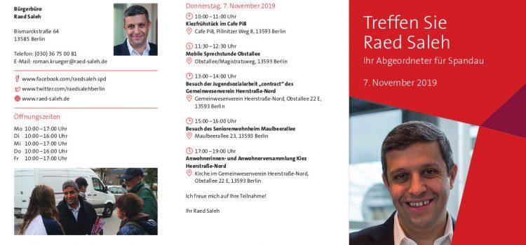 Raed Saleh am 07.11. vor Ort in der Heerstraße-Nord