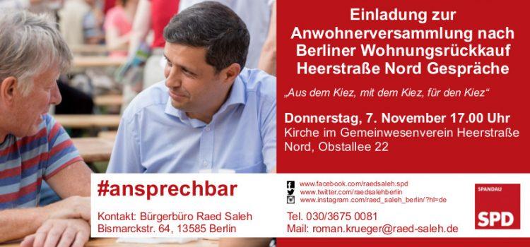 Raed Saleh lädt zur Anwohnerinnen- und Anwohnerversammlung in Heerstraße-Nord