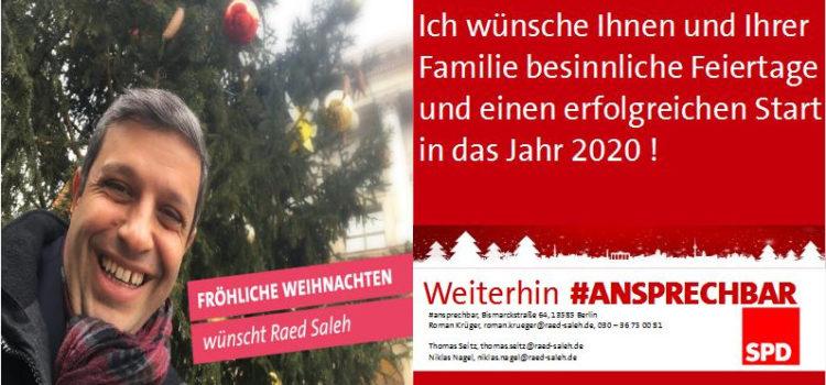 Frohe Weihnachten wünscht Raed Saleh